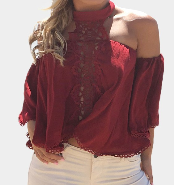 Burgundy Sexy Hollow Lace Insert Top 2