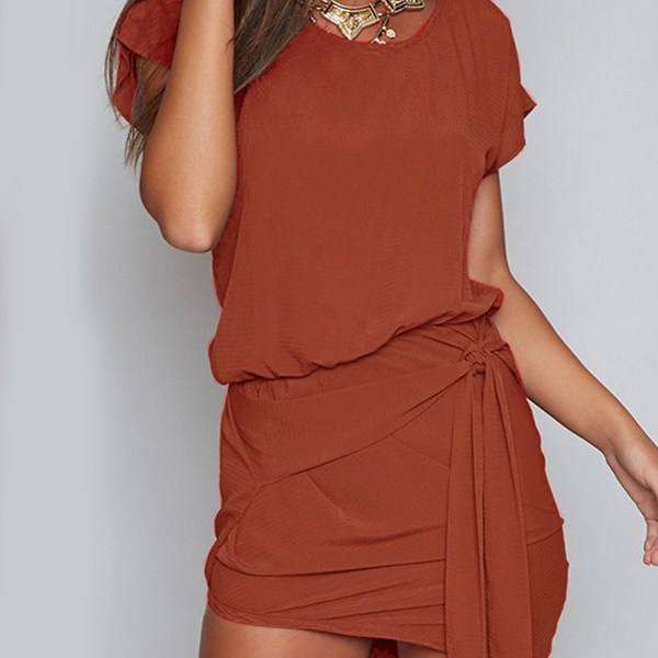 Orange Self-tie Design Round Neck Mini Dress 2