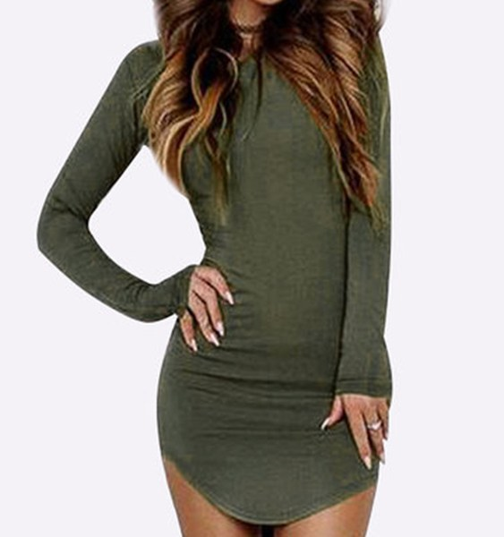 Round Neck Curved Hem Bodycon Fit Dress in Army Green 2