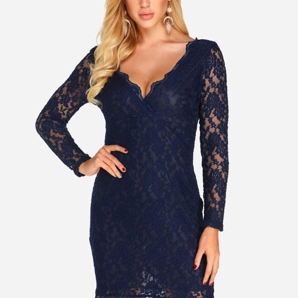 Navy Backless Design V-neck Lace Details Mini Dress 2