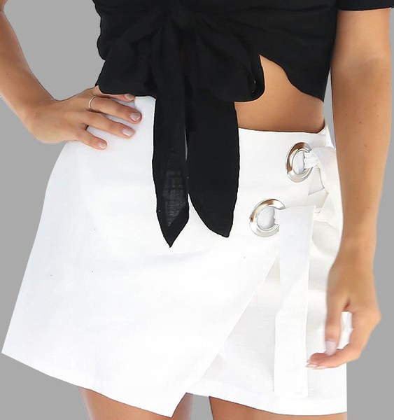 A-line Lace-Up Mini Skirts in White 2