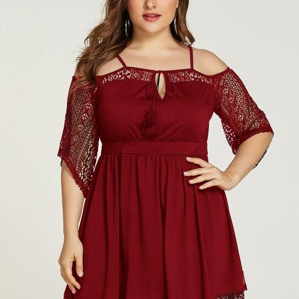 Plus Size Burgundy Lace Tie-up Design Cold Shoulder Dress 2