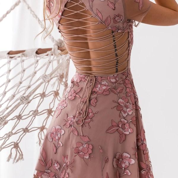 Pink Floral Embroidered Cutout Waist Criss-cross Back Mini Dress 2