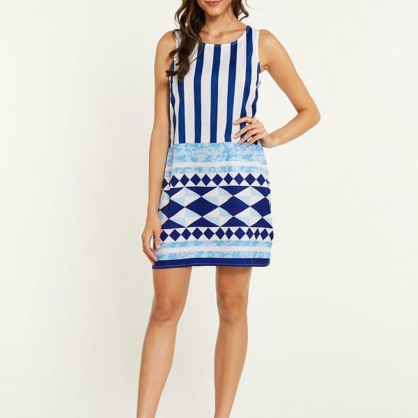 YOINS White Geo Print Stripe Round Neck Sleeveless Dress 2