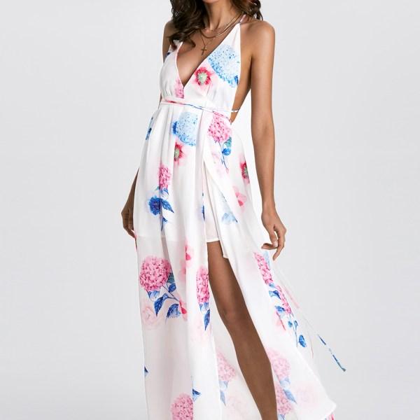 Sexy V-neck Random Floral Print Open Back Slit Dress 2