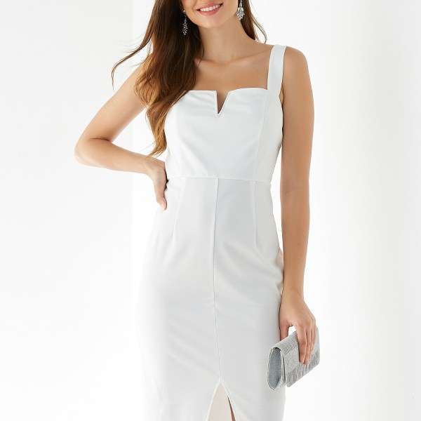 YOINS White V-neck Sleeveless Slit Hem Dress 2