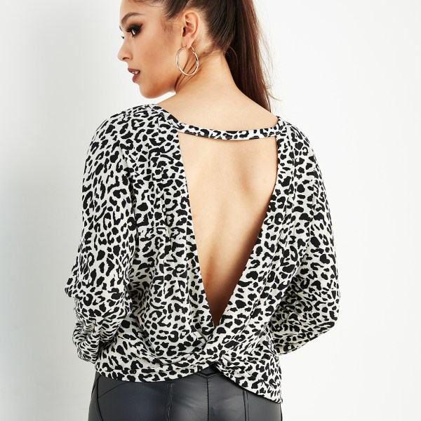 White Leopard Backless Long Sleeves Blouse 2