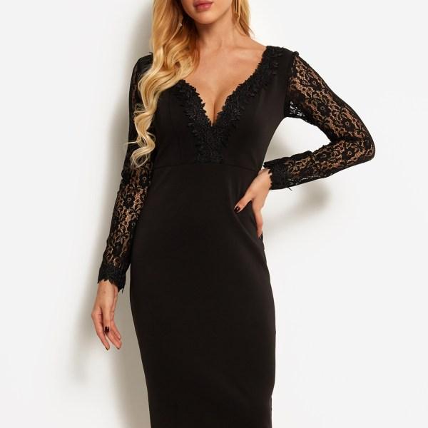Black Lace Insert Deep V Neck Long Sleeves Dress 2