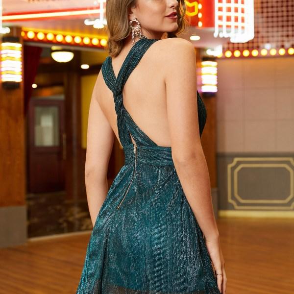 YOINS Glitter Backless Design Deep V Neck Sleeveless Dress 2