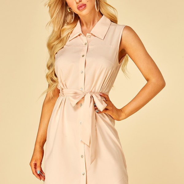 YOINS Apricot Button Design Revere Collar Sleeveless Dress 2