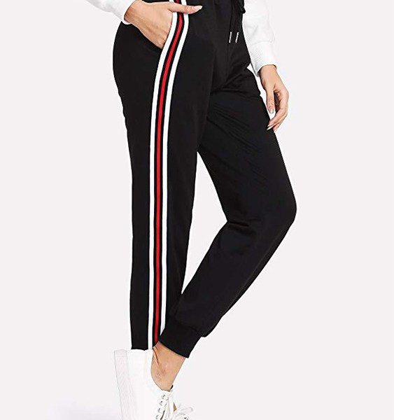 Black Striped Pockets Design Drawstring Waist Pants 2