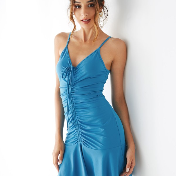 YOINS Blue V-neck Sleeveless Ruched Design Dress 2