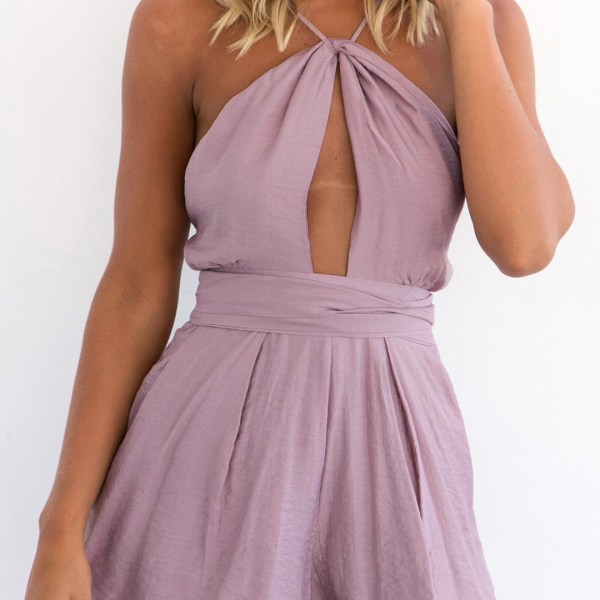 Purple Sexy Cut Out Backless Playsuit with Self-tie Design 2