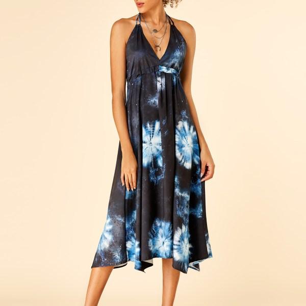 Black Tie-Dye Halter Lace-up Design Sleeveless Dress 2