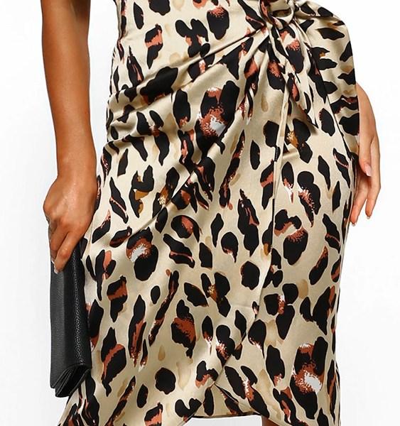 YOINS Brown Tie-up Design Leopard High-Waisted Skirt 1