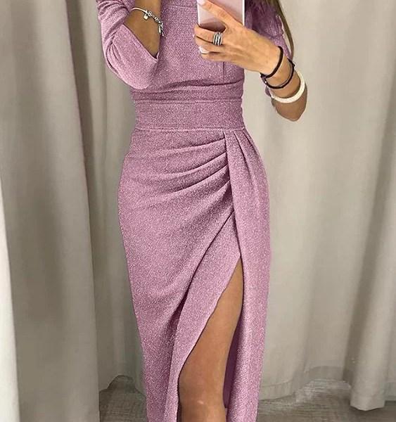 Pink Off The Shoulder Half Sleeves Ruched Dress 2