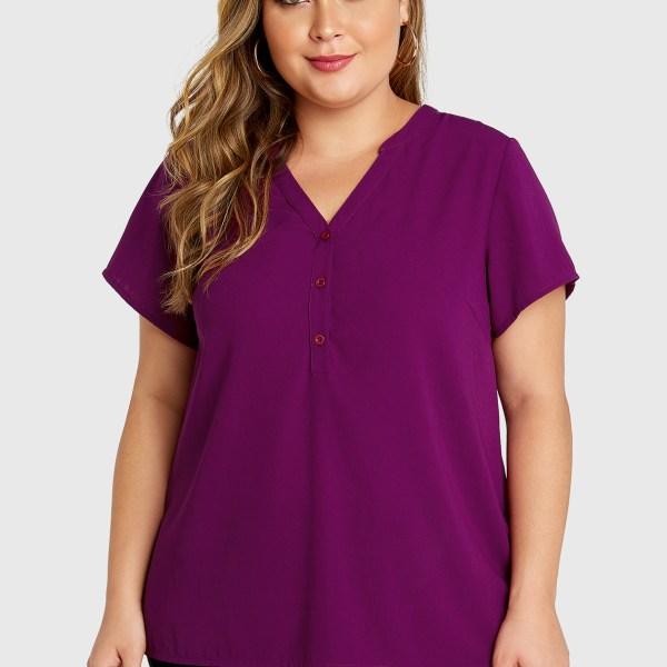 Plus Size Purple Button Front V-neck Blouse 2