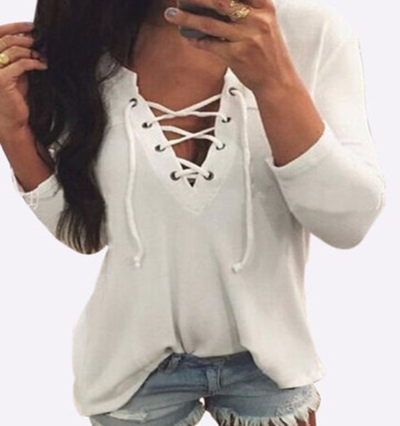 V Neck Lace Up Front Loose T-shirt in White 2