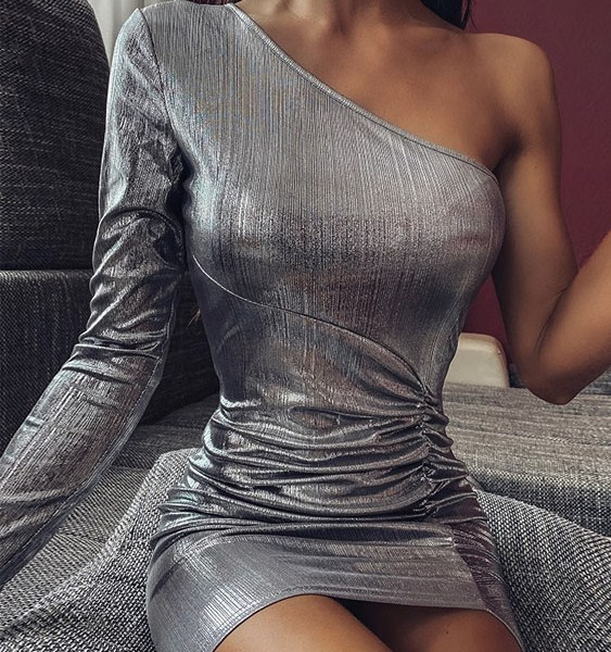 YOINS Silver Metallic Ruched Slit Hem One Shoulder Dress 1