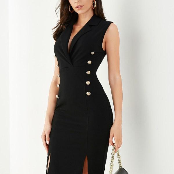 YOINS Black Button Design Lapel Collar Sleeveless Dress 2