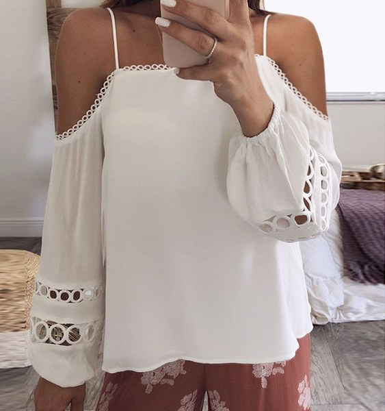 White Hollow Design Cold Shoulder Lantern Sleeves Blouse 1