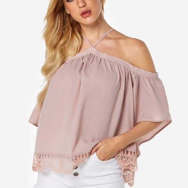 Pink Lace Hem Halter Short Sleeves Blouse 2