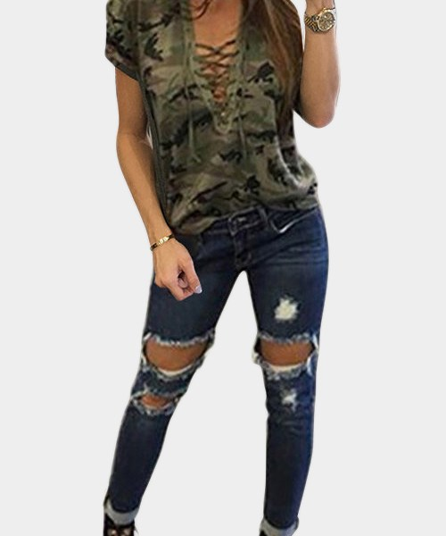 Green Sexy Camouflage Pattern V-neck Lace-up Front T-shirt 2