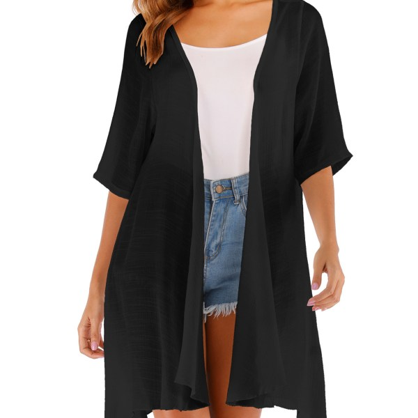 Open Front Short Sleeves Cardigan 2