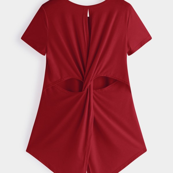 Red Cut Out Crew Neck Short Sleeves Crossed Back T-shirts 2