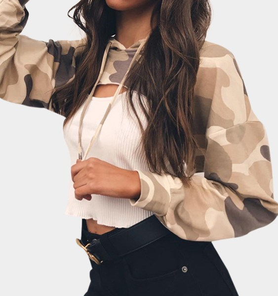 Light Camo Hoodies Cut Out Chest Front Top 2