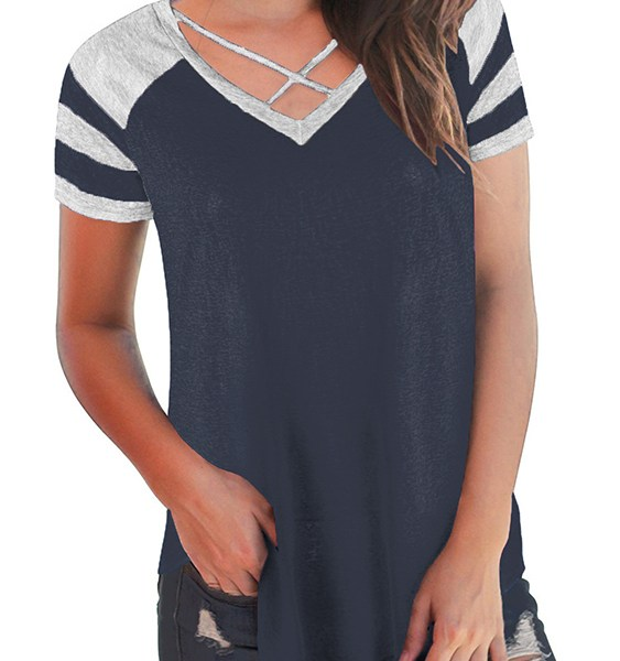 Navy Criss-cross Patchwork V-neck Short Sleeves Tee 2