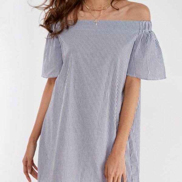 Pinstripe Off Shoulder Mini Dress 2