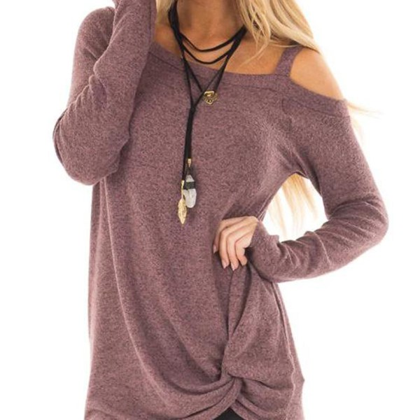 Dusty Mauve Crossed Front Design Plain One Shoulder Long Sleeves T-shirts 2