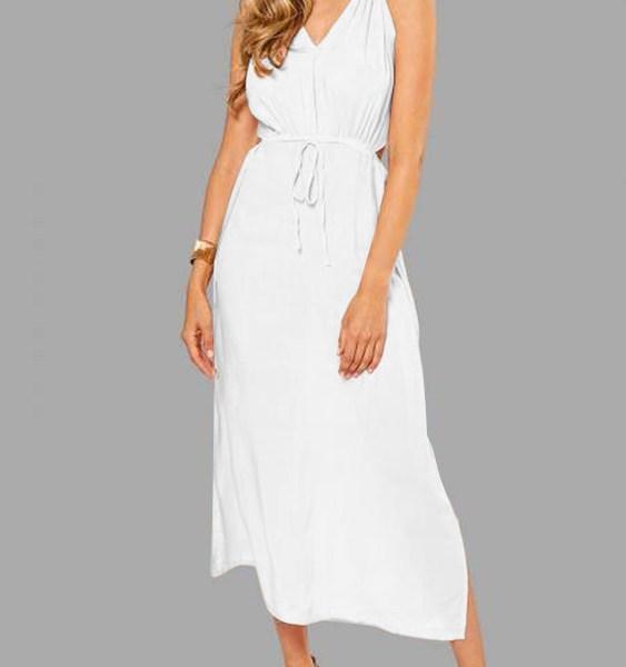 Sleeveless Back Lace-up Side Split Beach Maxi Dress In White 2