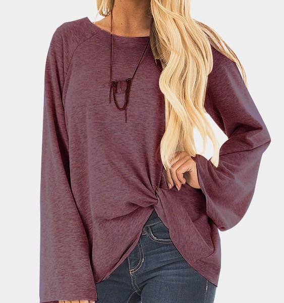Burgundy Crossed Front Design Plain Round Neck Flared Sleeves T-shirt 2