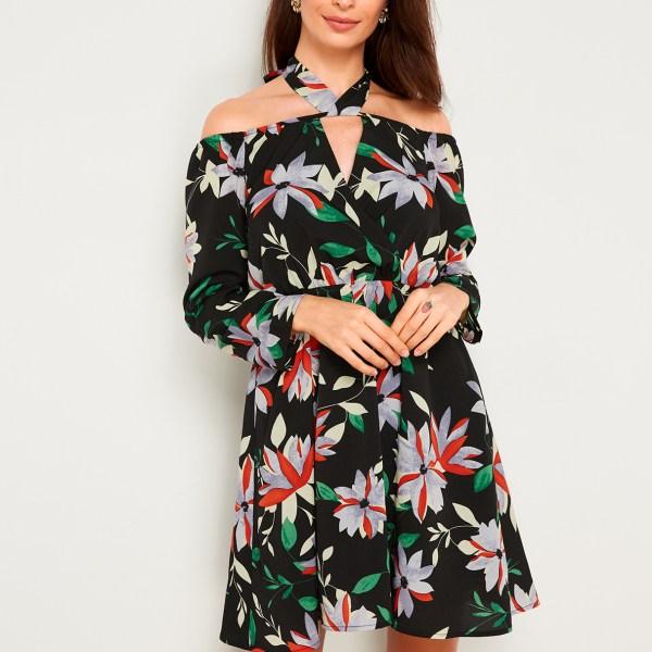 Black Floral Print Halter Off Shoulder Dress 2
