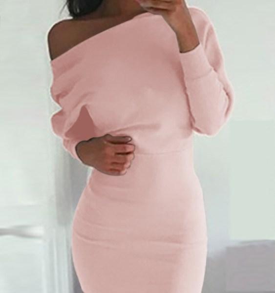 One Shoulder Bat Long Sleeves Mini Dress in Pink 2