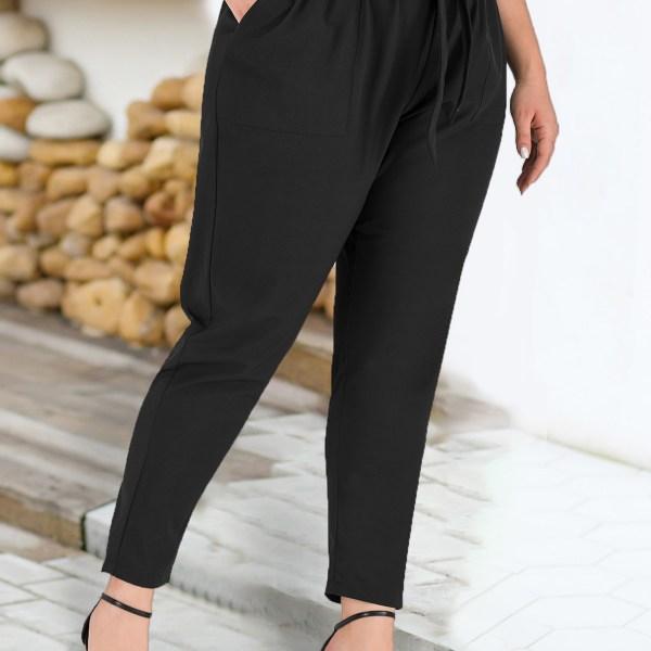 Plus Size Black Pocket Deisgn Pants With Belt 2
