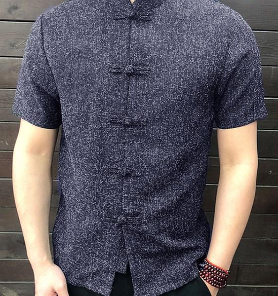Men Vintage Stand Collar Short Sleeve Shirt 2