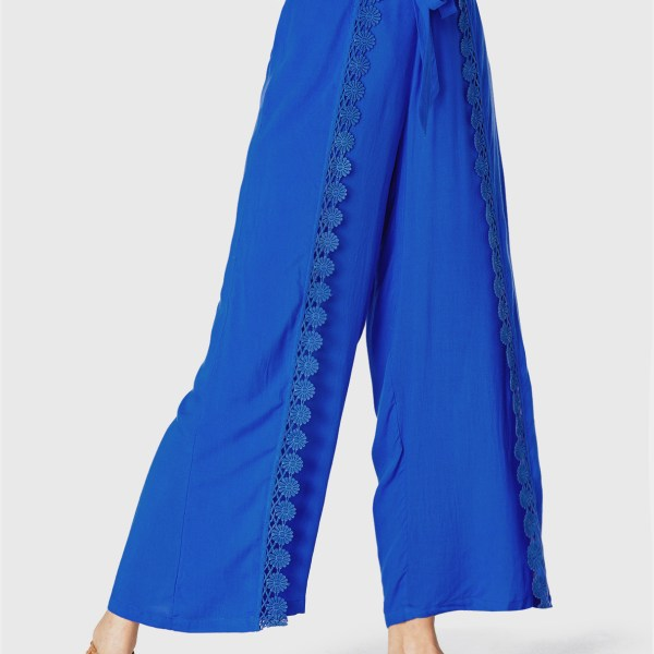 YOINS Royal Blue Crochet Lace Embellished Tie-up Design Pants 2