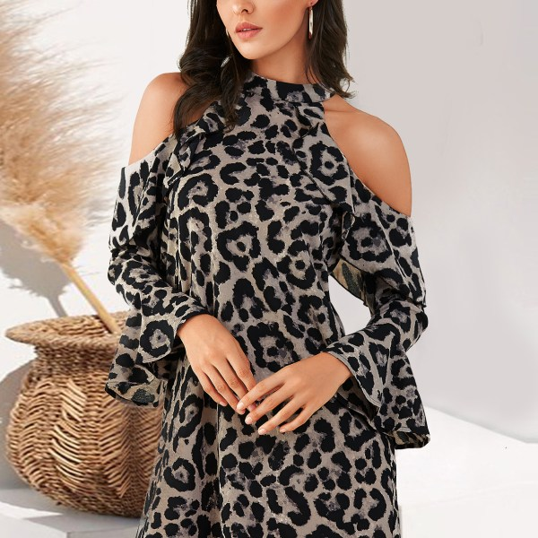YOINS Brown Leopard Cold Shoulder Bell Sleeves Dress 2