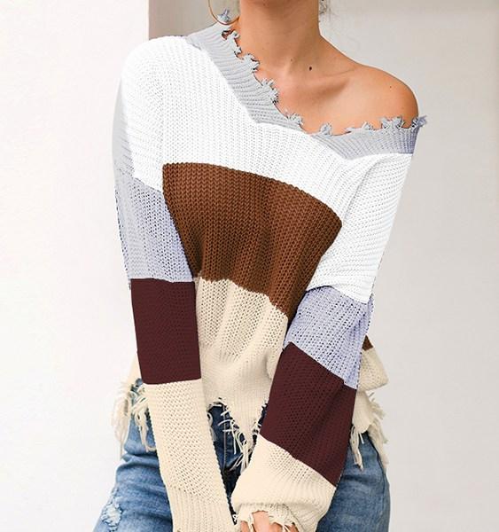 Grey Color Block Stripe Random Ripped Knit Sweater 2
