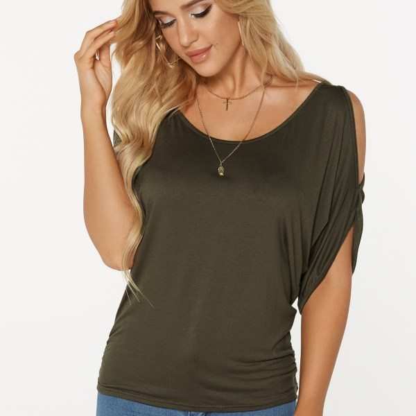Army Green Scoop Neck Cold Shoulder Tie-up at Back Tee 2