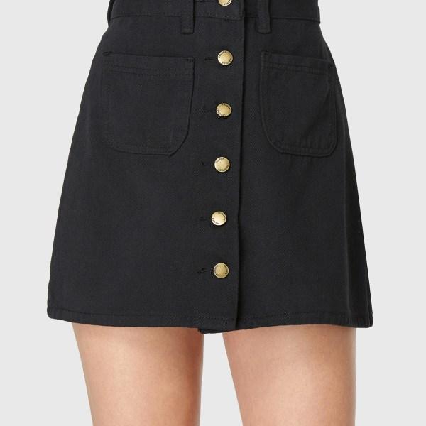 Black Denim Pockets Front Button Skirt 2