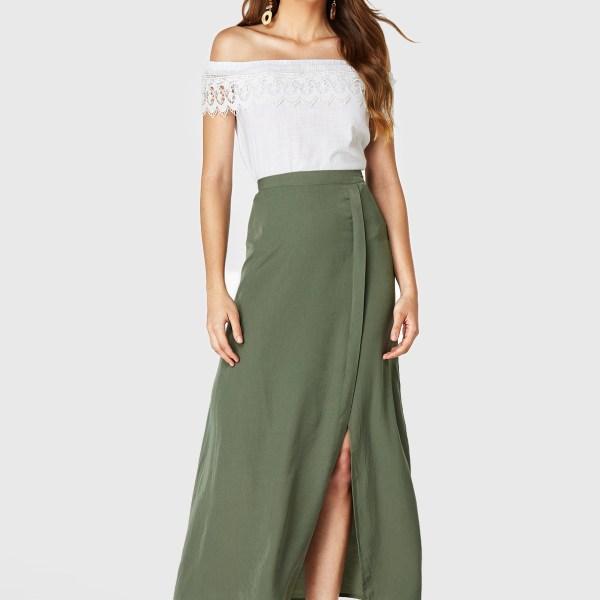 YOINS Army Green Split Design Long Skirt 2