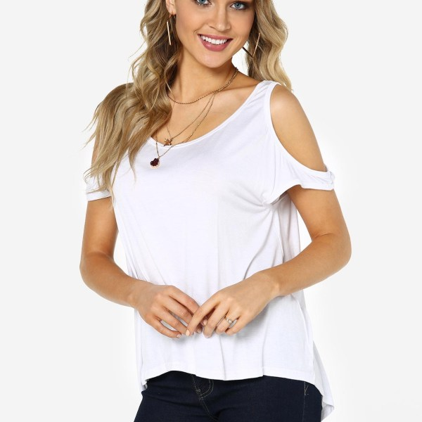 White Cold Shoulder Casual Top 2