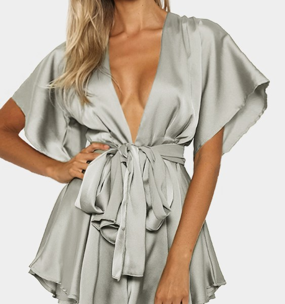 Silver V-neck Cut Out Self-tie Playsuit 2