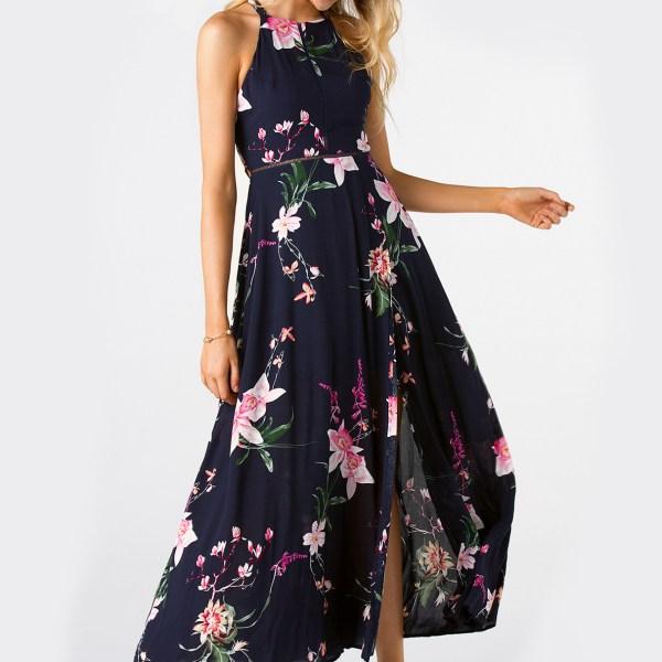 Navy Side Split Back Lace-up Random Floral Print Sleeveless Dress 2