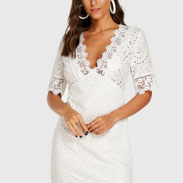 YOINS White Lace Insert Deep V Neck Half Sleeves Dress 2