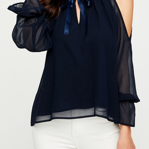 YOINS Navy Bowknot Cold Shoulder Long Sleeves Blouse 2